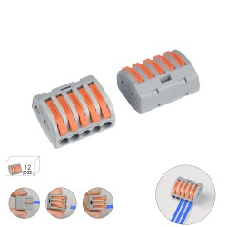 Regleta Conexion Rapida, Conexion Electrica 5 polos, 4mmØ, 12 unidades.
