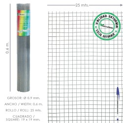 Malla Electrosoldada Ligera Galvanizada 19x19 Alto 60 cm. Rollo 25 Metros Uso Domestico